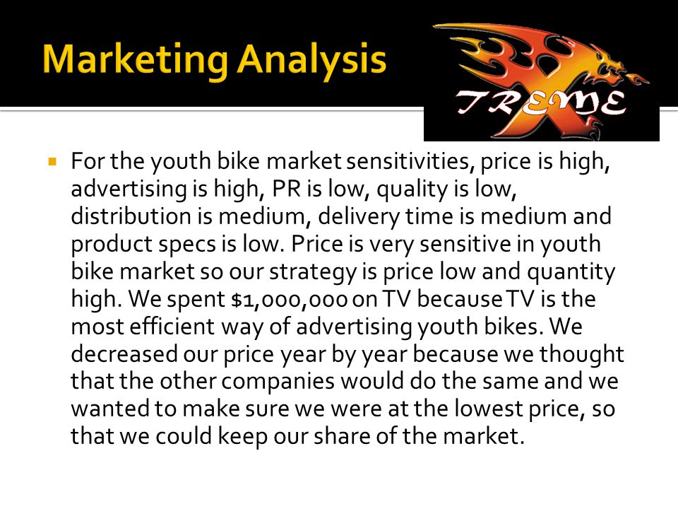  For the youth bike market sensitivities, price is high, advertising is high, PR is low, quality is low, distribution is medium, delivery time is medium and product specs is low.