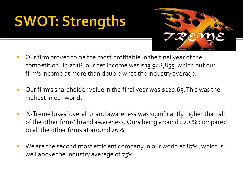  Our firm proved to be the most profitable in the final year of the competition.