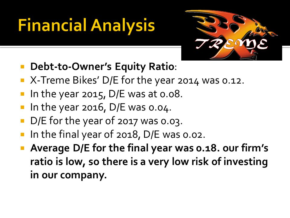  Debt-to-Owner's Equity Ratio:  X-Treme Bikes' D/E for the year 2014 was 0.12.