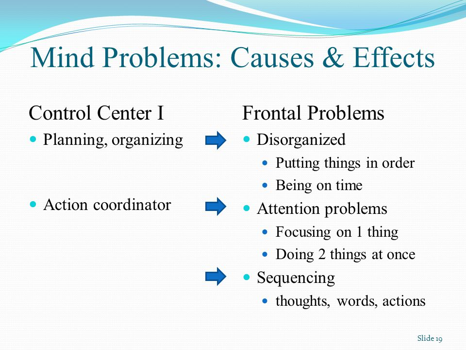 Mind Problems: Causes & Effects Frontal Problems Disorganized Putting things in order Being on time Attention problems Focusing on 1 thing Doing 2 things at once Sequencing thoughts, words, actions Control Center I Planning, organizing Action coordinator Slide 19