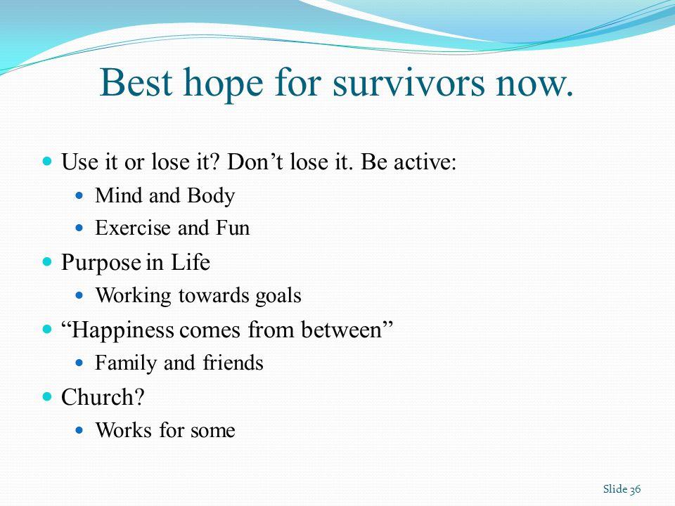 Best hope for survivors now.