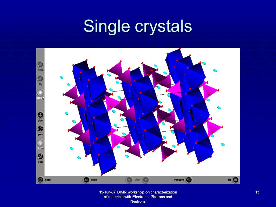 19-Jun-07 BIMR workshop on characterization of materials with Electrons, Photons and Neutrons 15 Single crystals