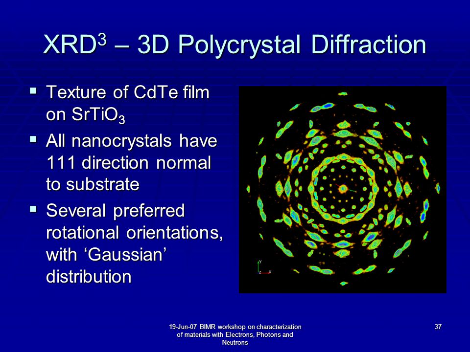 19-Jun-07 BIMR workshop on characterization of materials with Electrons, Photons and Neutrons 37 XRD 3 – 3D Polycrystal Diffraction  Texture of CdTe film on SrTiO 3  All nanocrystals have 111 direction normal to substrate  Several preferred rotational orientations, with 'Gaussian' distribution
