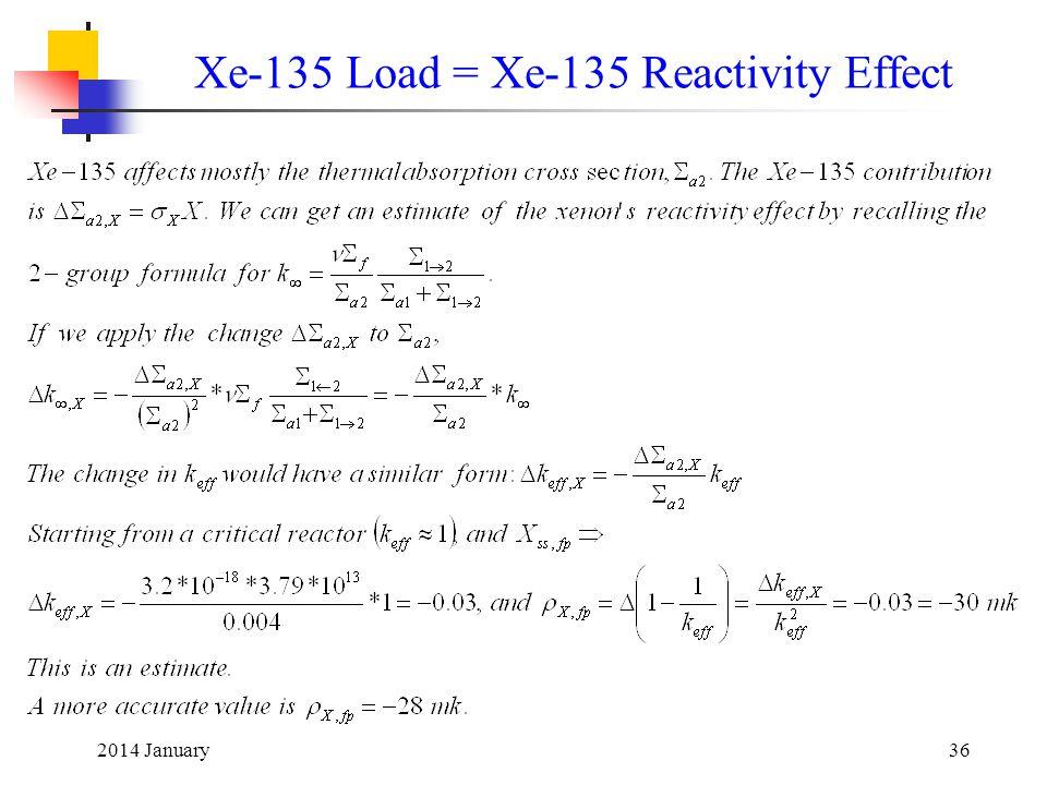 2014 January36 Xe-135 Load = Xe-135 Reactivity Effect