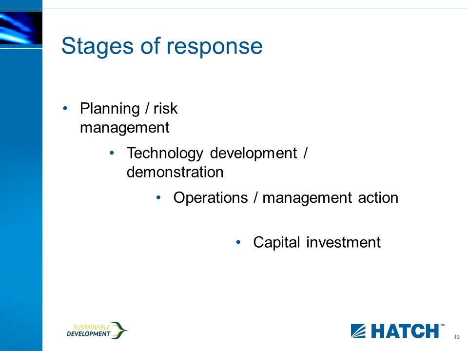 19 Stages of response Planning / risk management Technology development / demonstration Operations / management action Capital investment