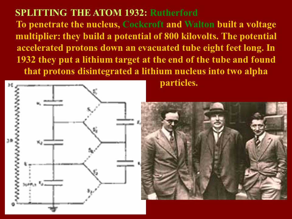 SPLITTING THE ATOM 1932: Rutherford To penetrate the nucleus, Cockcroft and Walton built a voltage multiplier: they build a potential of 800 kilovolts.