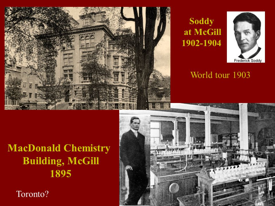 MacDonald Chemistry Building, McGill 1895 Soddy at McGill 1902-1904 Toronto World tour 1903