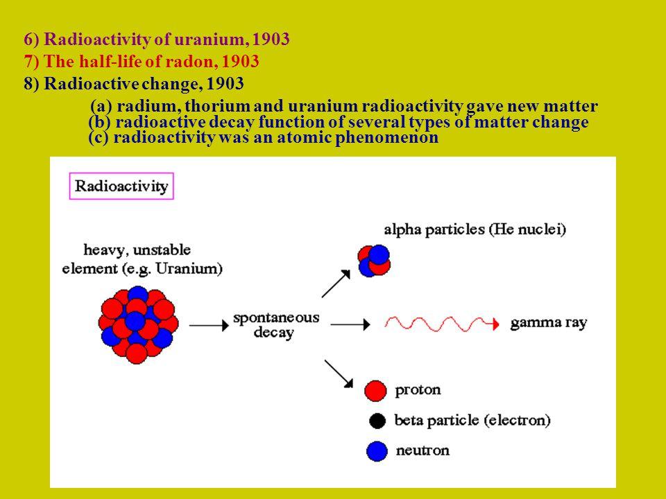 6) Radioactivity of uranium, 1903 7) The half-life of radon, 1903 8) Radioactive change, 1903 (a) radium, thorium and uranium radioactivity gave new matter (b) radioactive decay function of several types of matter change (c) radioactivity was an atomic phenomenon