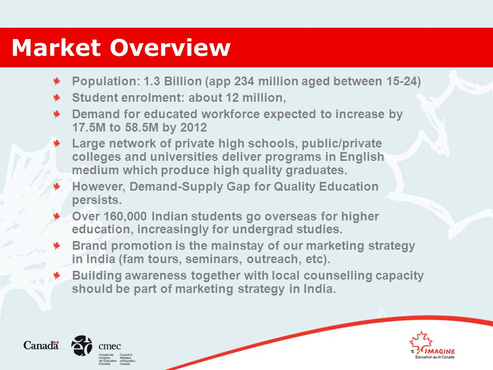 Market Overview Population: 1.3 Billion (app 234 million aged between 15-24) Student enrolment: about 12 million, Demand for educated workforce expected to increase by 17.5M to 58.5M by 2012 Large network of private high schools, public/private colleges and universities deliver programs in English medium which produce high quality graduates.