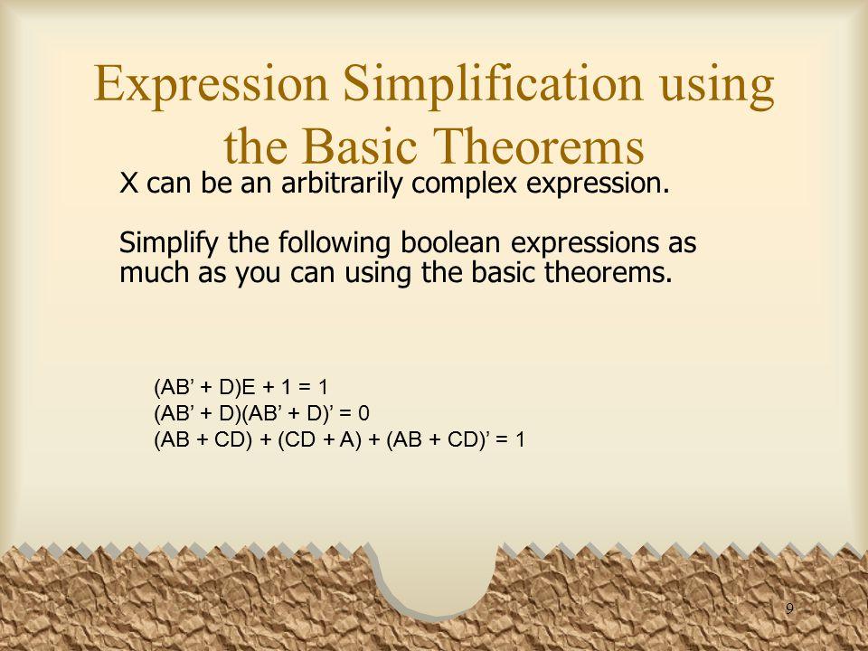 20 Simplification Theorems (X + Y')Y = XY XY + Y'Y = XY + 0 = XY XY' + Y = X + Y (using the second distributive law) XY' + Y = Y + XY' = (Y + X)(Y + Y') = (Y + X)·1 = X + Y XY + XY' = X XY + XY' = X(Y + Y') = X·1 = X X + XY = X X(1 + Y) = X·1 = X (X + Y)(X + Y') = X (X + Y)(X + Y') = XX + XY' + YX + YY' = X + X(Y' + Y) + 0 = X + X·1 = X X(X + Y) = X X(X + Y) = XX + XY = X·1 + XY = X(1 + Y) = X·1 = X