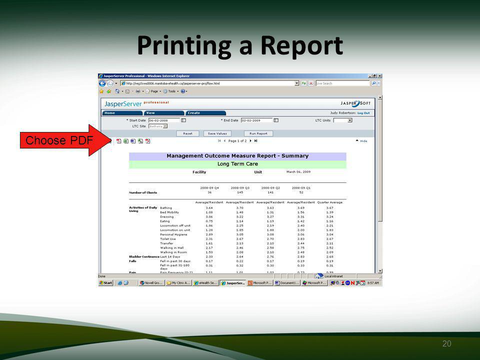 20 Printing a Report Choose PDF