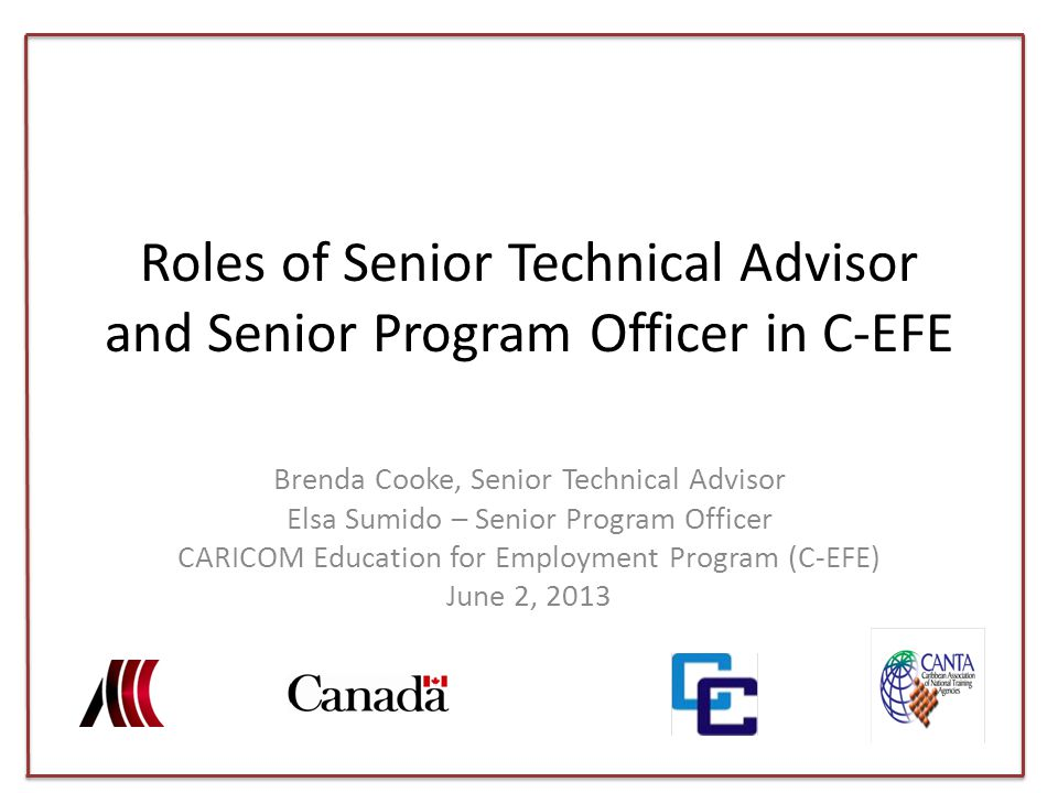 C-EFE Context CARICOM Education for Employment – 20M, 5 years 3 STAs in field – Regional Coordinator/STA, OECS, Trinidad and Tobago and Barbados – STA, Suriname and Guyana – STA, Belize and Jamaica – Administrative & Finance Officers (Local – FT)