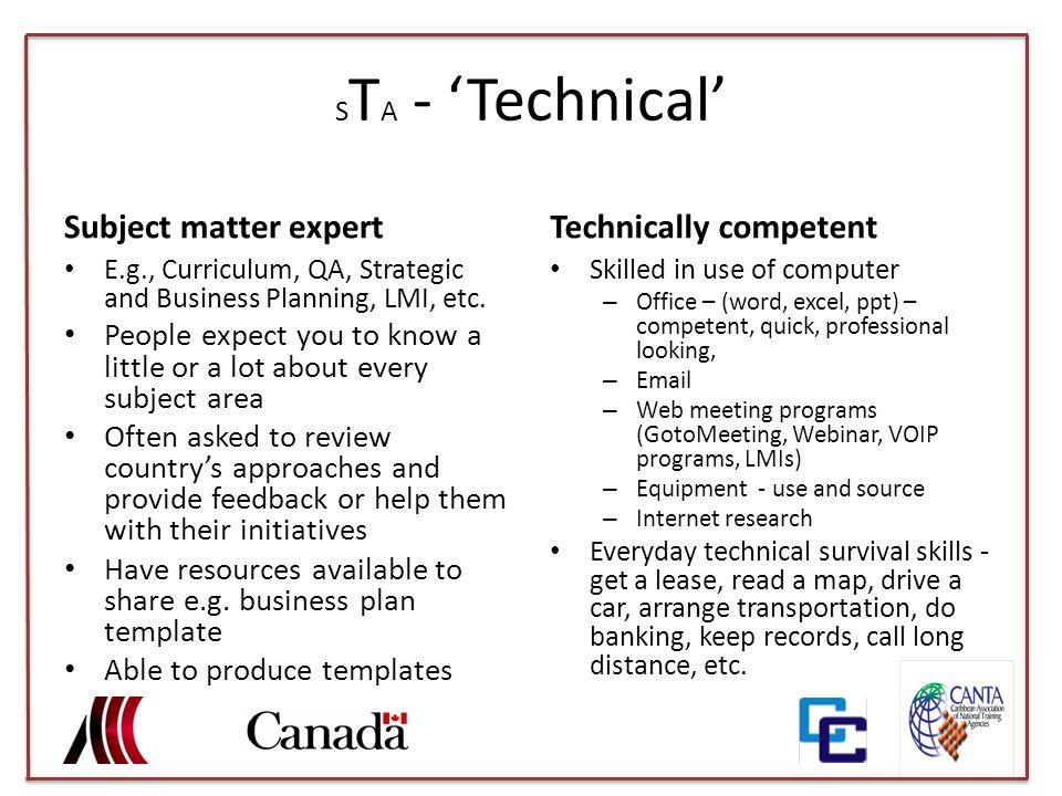 S T A - 'Technical' Subject matter expert E.g., Curriculum, QA, Strategic and Business Planning, LMI, etc.