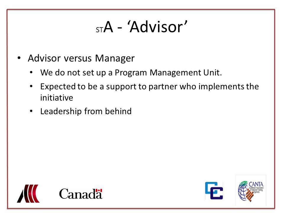ST A - 'Advisor' Advisor versus Manager We do not set up a Program Management Unit.