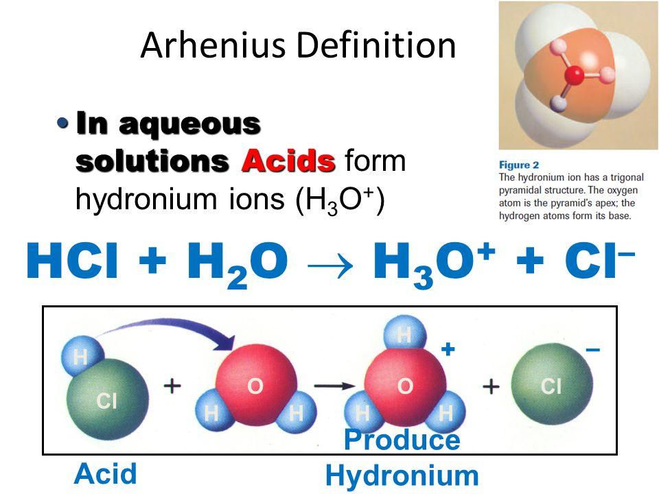 Arhenius Definition In aqueous solutions BasesIn aqueous solutions Bases form hydroxide ions (OH - ) NH 3 + H 2 O  NH 4 + + OH - H H H H H H N NO O – + H H H H Base Produce Hydroxide