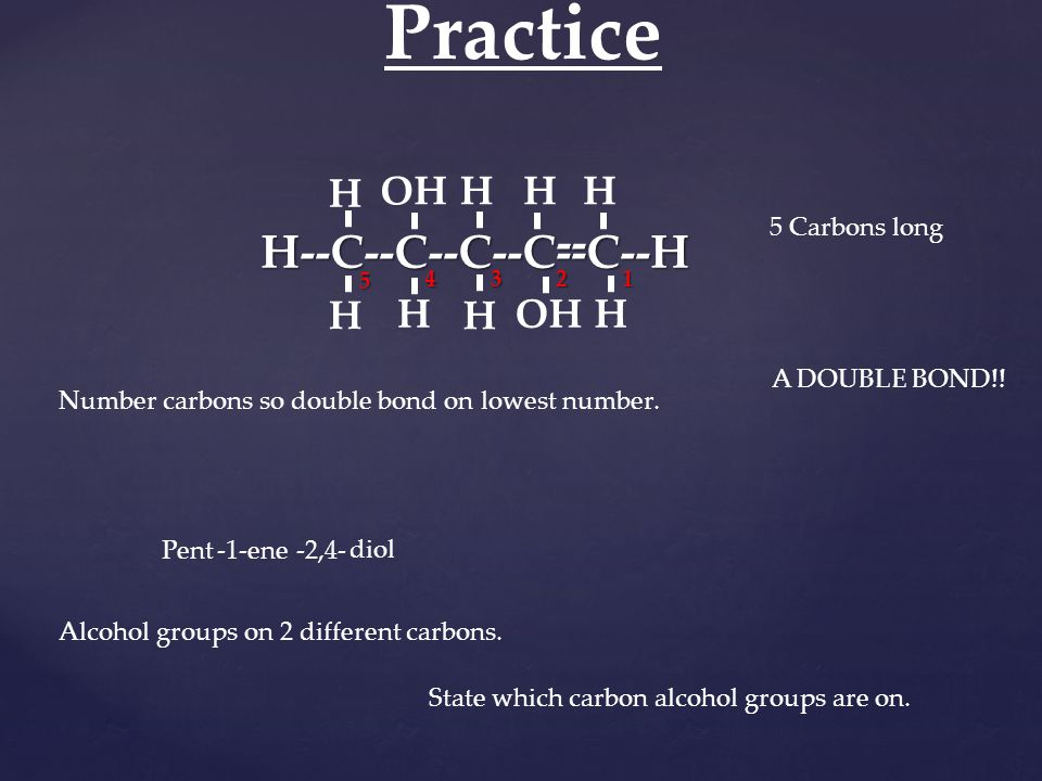 H--C--C--C--C--C--H H H OH H HH H H H 1234 5 Practice 5 Carbons long Pent -- A DOUBLE BOND!! -1-ene Number carbons so double bond on lowest number. Al
