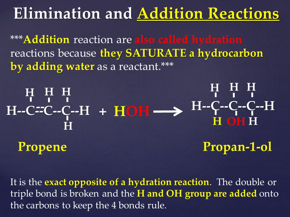 Elimination and Addition Reactions they SATURATE a hydrocarbon by adding water ***Addition reaction are also called hydration reactions because they S