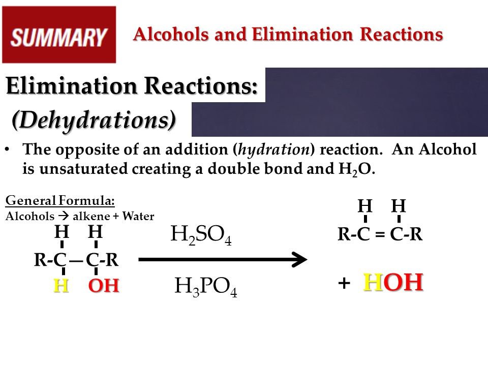 Alcohols and Elimination Reactions Elimination Reactions: (Dehydrations) The opposite of an addition (hydration) reaction. An Alcohol is unsaturated c