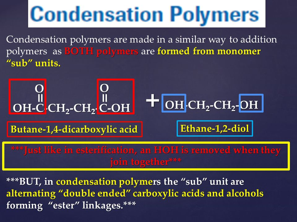 "BOTH polymers formed from monomer ""sub"" units. Condensation polymers are made in a similar way to addition polymers as BOTH polymers are formed from m"