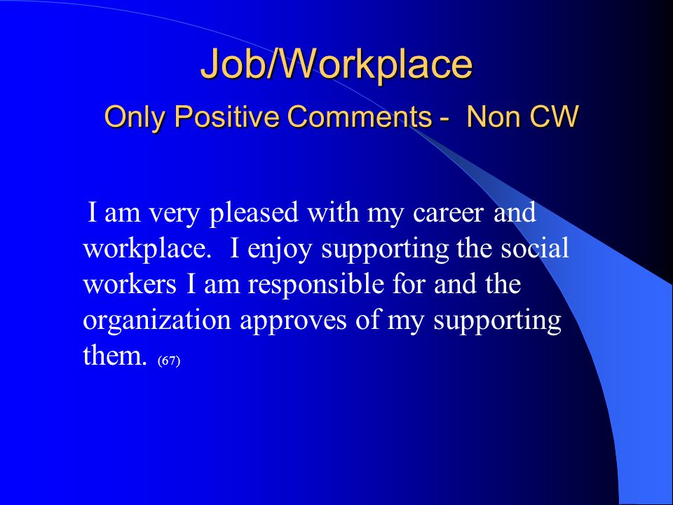 Job/Workplace Only Positive Comments - Non CW I am very pleased with my career and workplace.