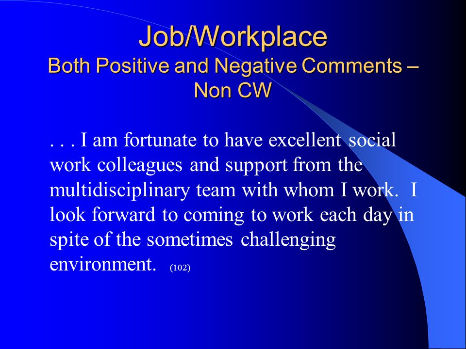 Job/Workplace Both Positive and Negative Comments – Non CW...