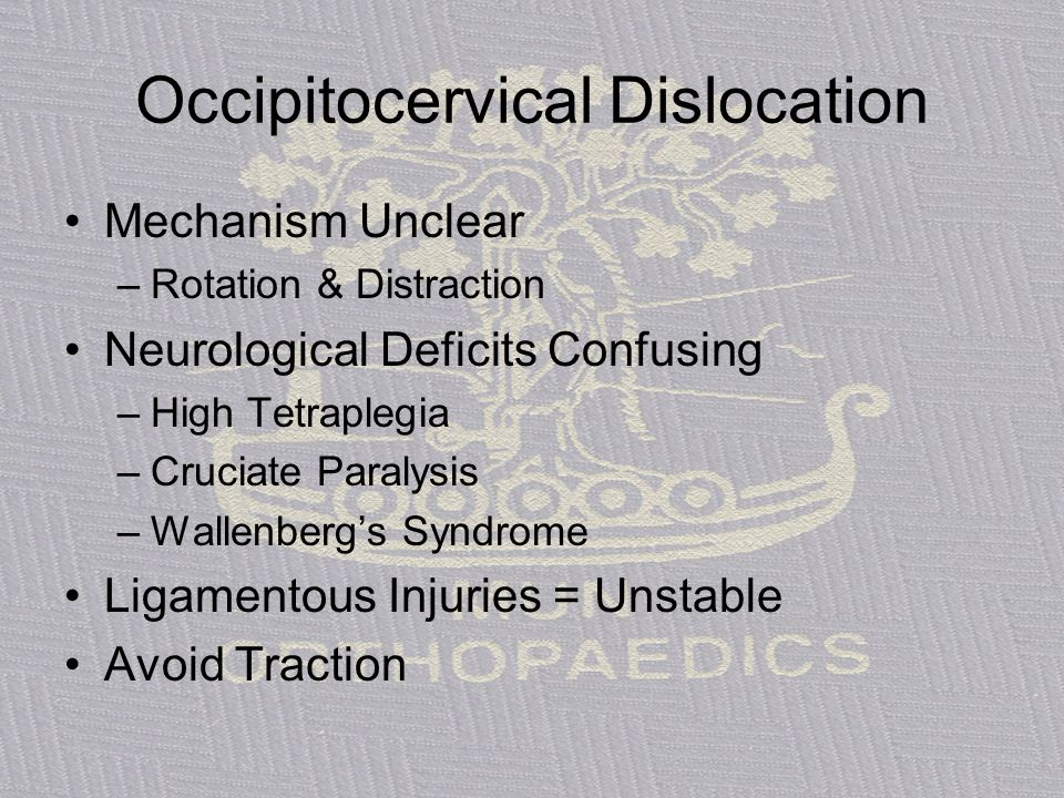 Occipitocervical Dislocation Mechanism Unclear –Rotation & Distraction Neurological Deficits Confusing –High Tetraplegia –Cruciate Paralysis –Wallenbe