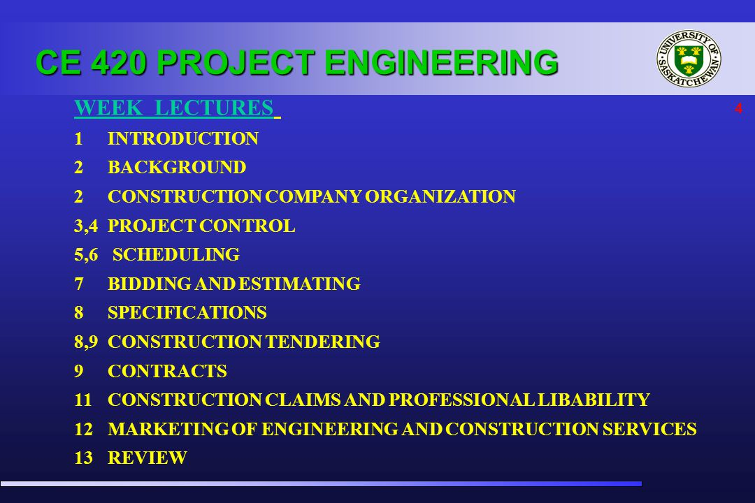 4 WEEK LECTURES 1 INTRODUCTION 2BACKGROUND 2CONSTRUCTION COMPANY ORGANIZATION 3,4PROJECT CONTROL 5,6 SCHEDULING 7BIDDING AND ESTIMATING 8SPECIFICATIONS 8,9CONSTRUCTION TENDERING 9CONTRACTS 11CONSTRUCTION CLAIMS AND PROFESSIONAL LIBABILITY 12MARKETING OF ENGINEERING AND CONSTRUCTION SERVICES 13REVIEW