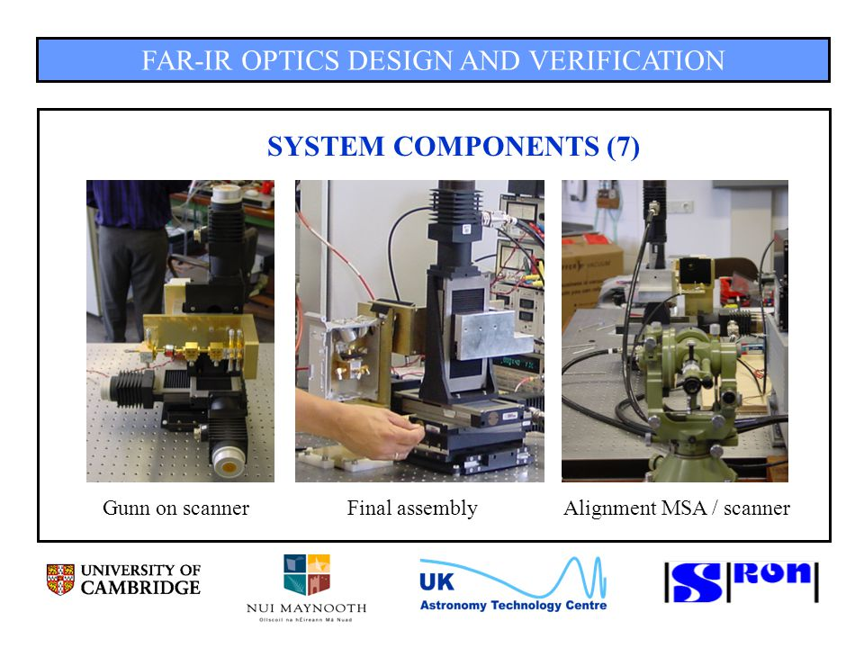 FAR-IR OPTICS DESIGN AND VERIFICATION SYSTEM COMPONENTS (7) Gunn on scannerFinal assemblyAlignment MSA / scanner