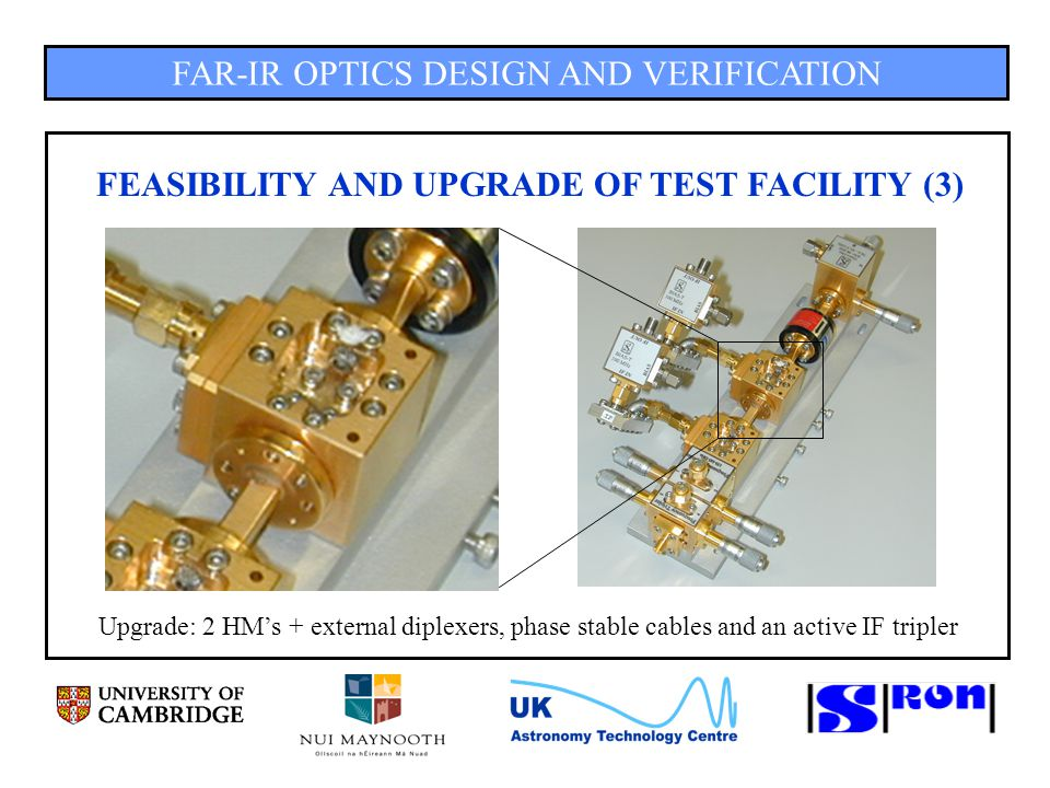 FAR-IR OPTICS DESIGN AND VERIFICATION FEASIBILITY AND UPGRADE OF TEST FACILITY (3) Upgrade: 2 HM's + external diplexers, phase stable cables and an active IF tripler