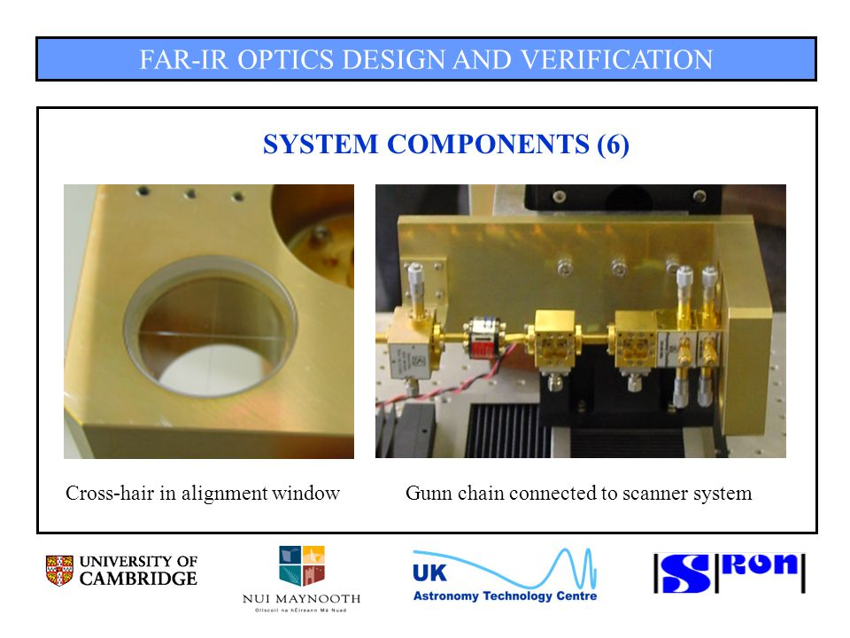 FAR-IR OPTICS DESIGN AND VERIFICATION SYSTEM COMPONENTS (6) Cross-hair in alignment windowGunn chain connected to scanner system