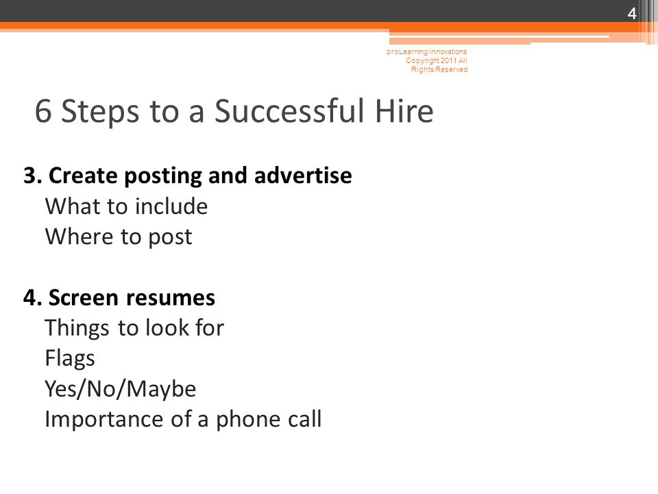 6 Steps to a Successful Hire 3.Create posting and advertise What to include Where to post 4.