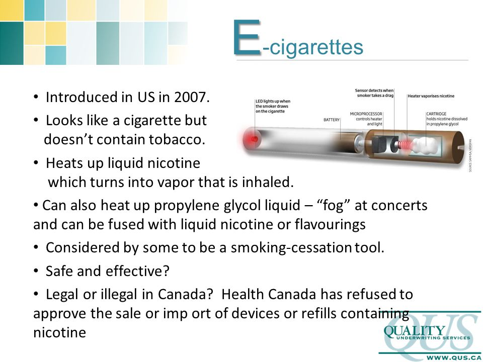 E E -cigarettes Introduced in US in Looks like a cigarette but doesn't contain tobacco.