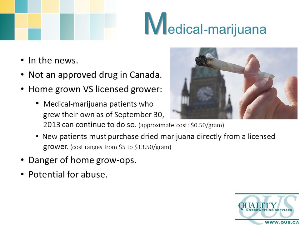 M M edical-marijuana In the news. Not an approved drug in Canada.