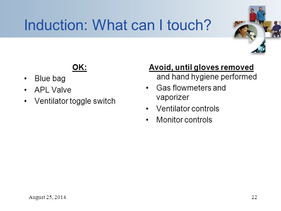 August 25, 201422 Induction: What can I touch? OK: Blue bag APL Valve Ventilator toggle switch Avoid, until gloves removed and hand hygiene performed