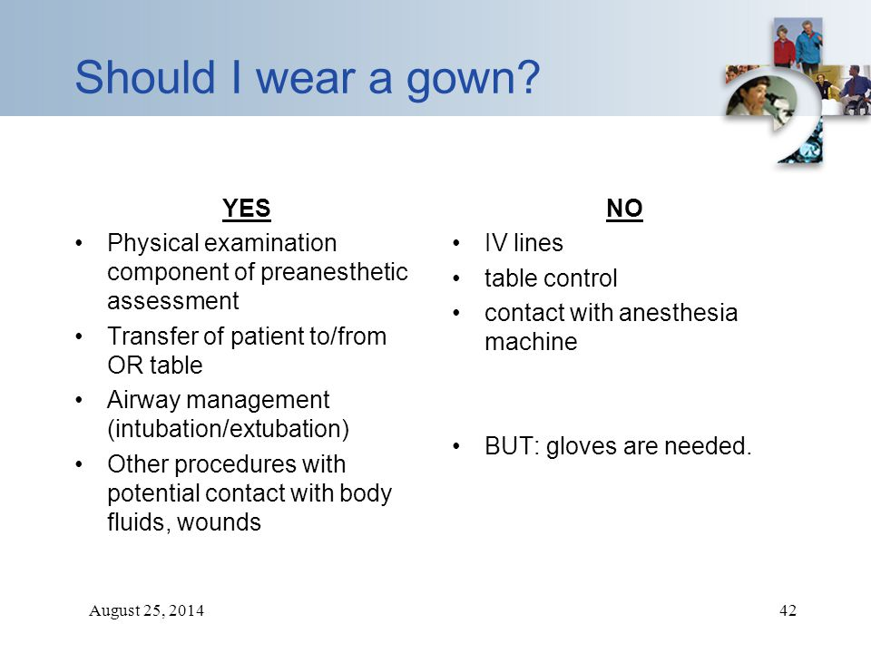 August 25, 201442 Should I wear a gown? YES Physical examination component of preanesthetic assessment Transfer of patient to/from OR table Airway man