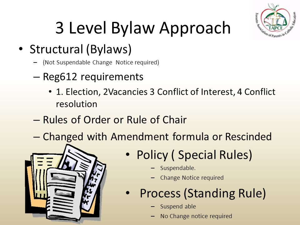 Amendment process Develop Terms of reference Review Minutes Review Bylaws for adherence to Past Practice Reconcile Practice/Bylaw with Mission Call for Amendments Develop Rational Provide Notice Provide Report Vote on Recommendation – Concurrence, Non Concurrence
