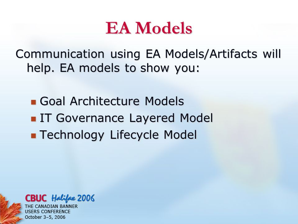 EA Models Communication using EA Models/Artifacts will help.