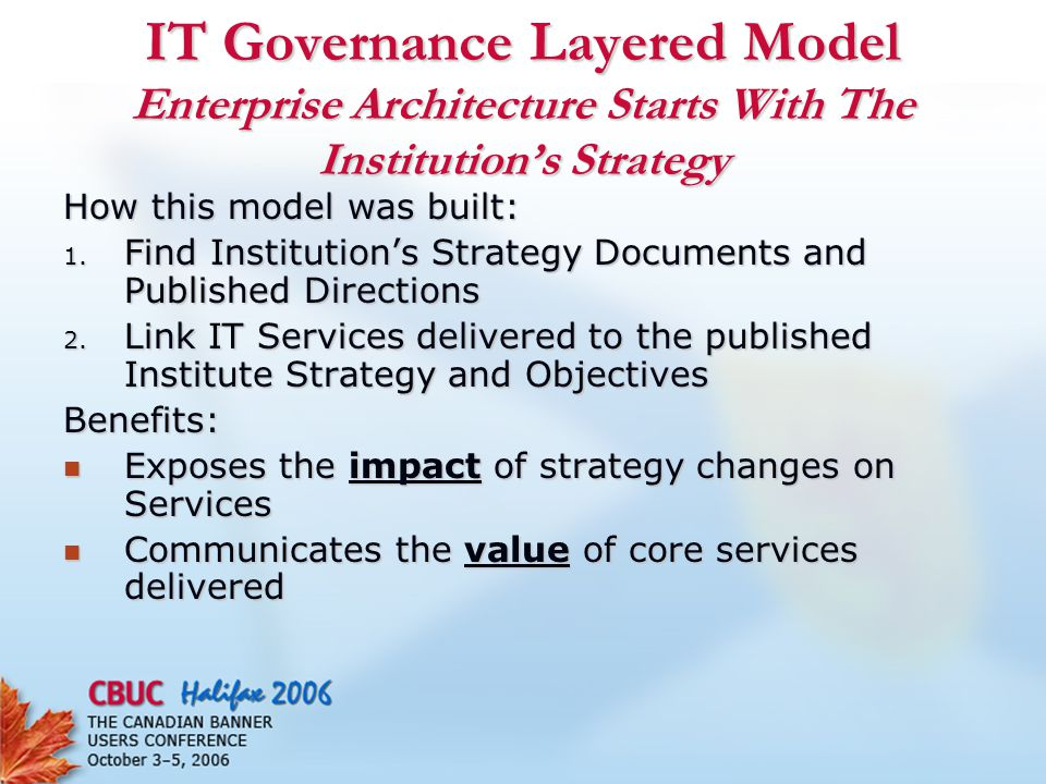 IT Governance Layered Model Enterprise Architecture Starts With The Institution's Strategy How this model was built: 1.