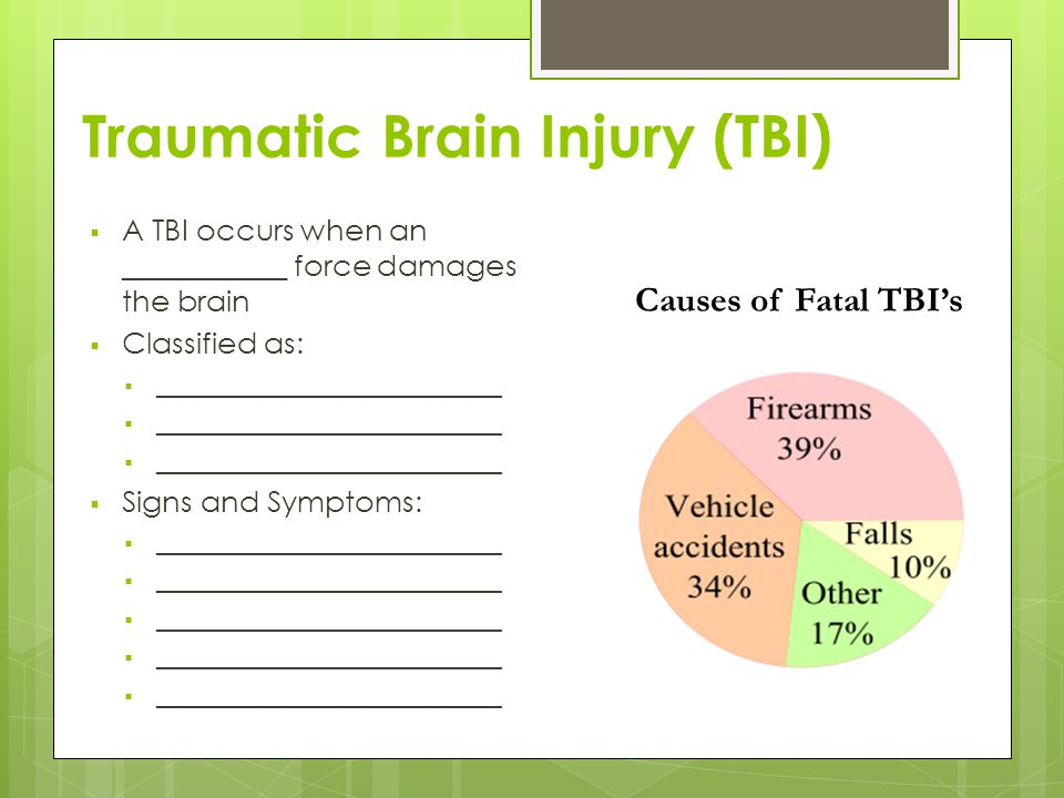 Traumatic Brain Injury (TBI)  A TBI occurs when an ___________ force damages the brain  Classified as:  __________________________  Signs and Symptoms:  __________________________ Causes of Fatal TBI's