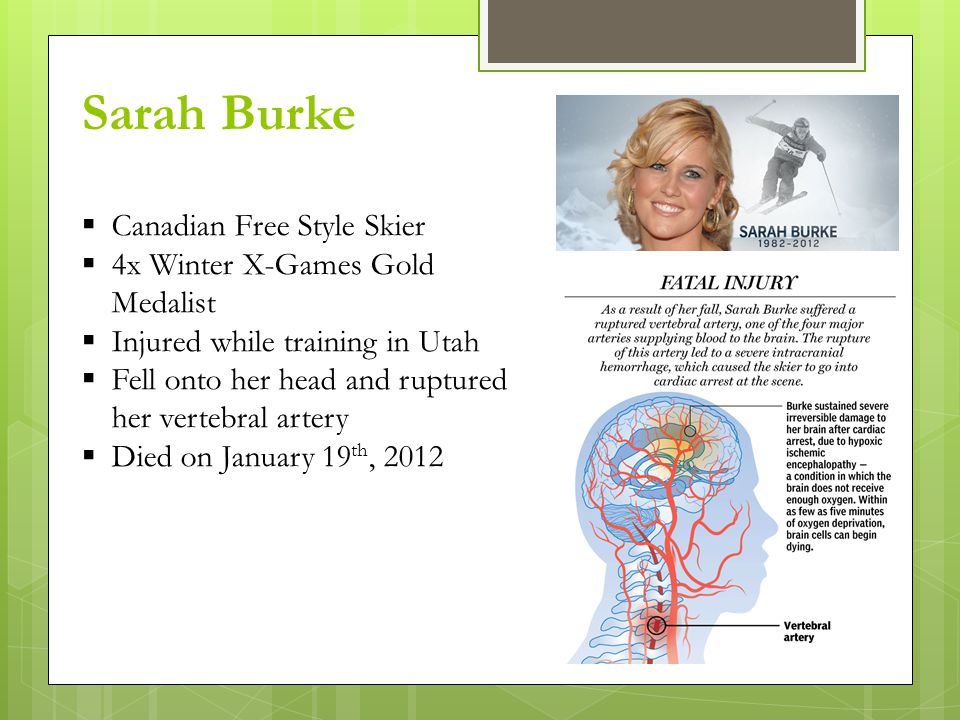Sarah Burke  Canadian Free Style Skier  4x Winter X-Games Gold Medalist  Injured while training in Utah  Fell onto her head and ruptured her vertebral artery  Died on January 19 th, 2012