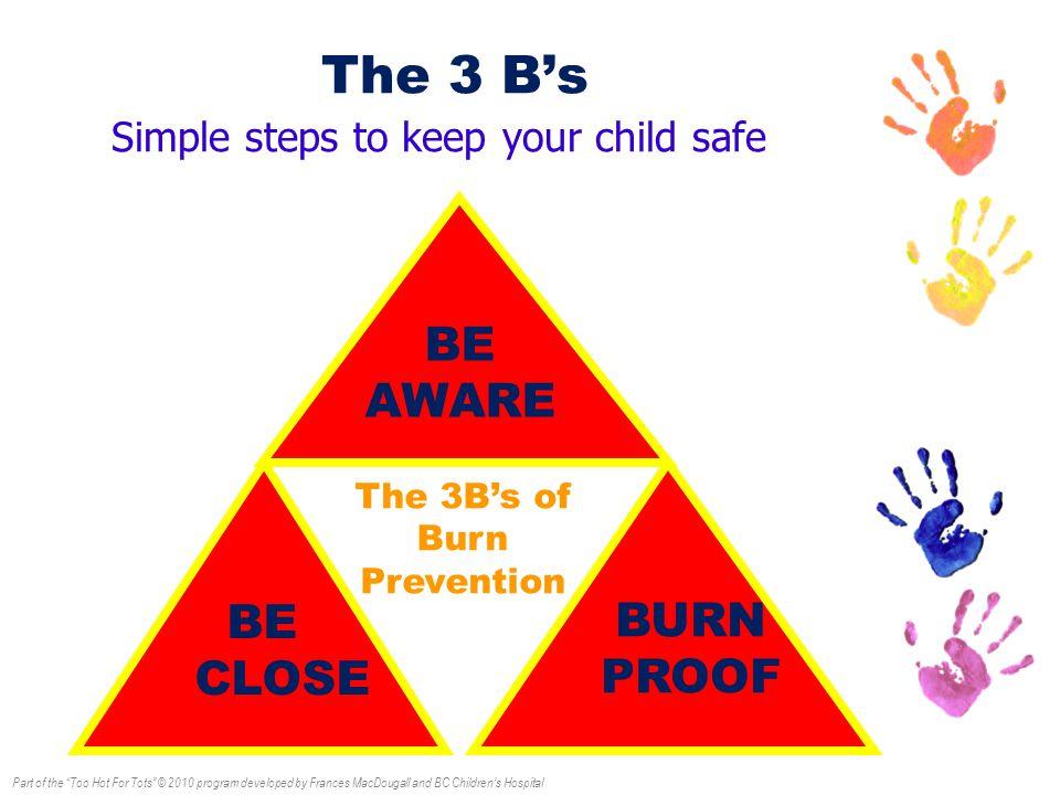 The 3 B's 2 BE CLOSE BURN PROOF The 3B's of Burn Prevention BE AWARE Simple steps to keep your child safe