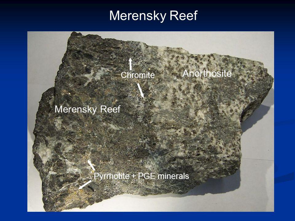 Merensky Reef Anorthosite Merensky Reef Pyrrhotite + PGE minerals Chromite