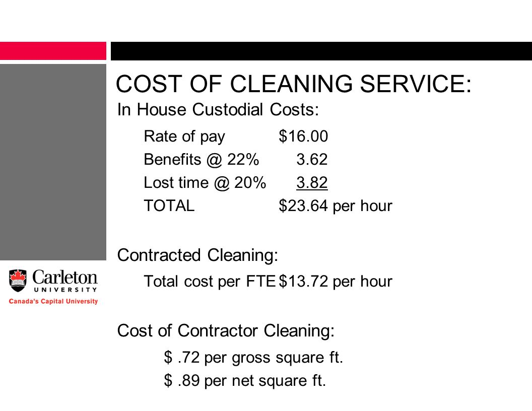COST OF CLEANING SERVICE: In House Custodial Costs: Rate of pay$16.00 Benefits @ 22% 3.62 Lost time @ 20% 3.82 TOTAL$23.64 per hour Contracted Cleaning: Total cost per FTE$13.72 per hour Cost of Contractor Cleaning: $.72 per gross square ft.
