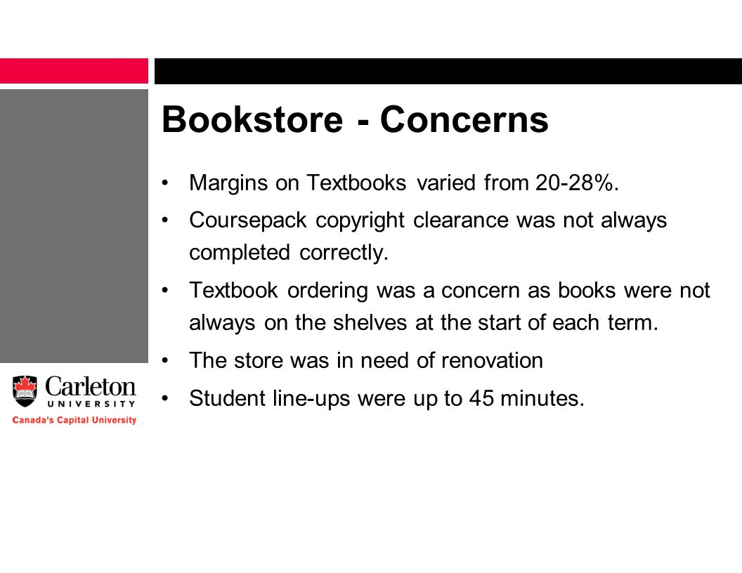 Bookstore - Concerns Margins on Textbooks varied from 20-28%.