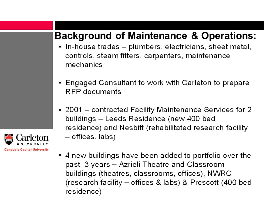 Background of Maintenance & Operations: