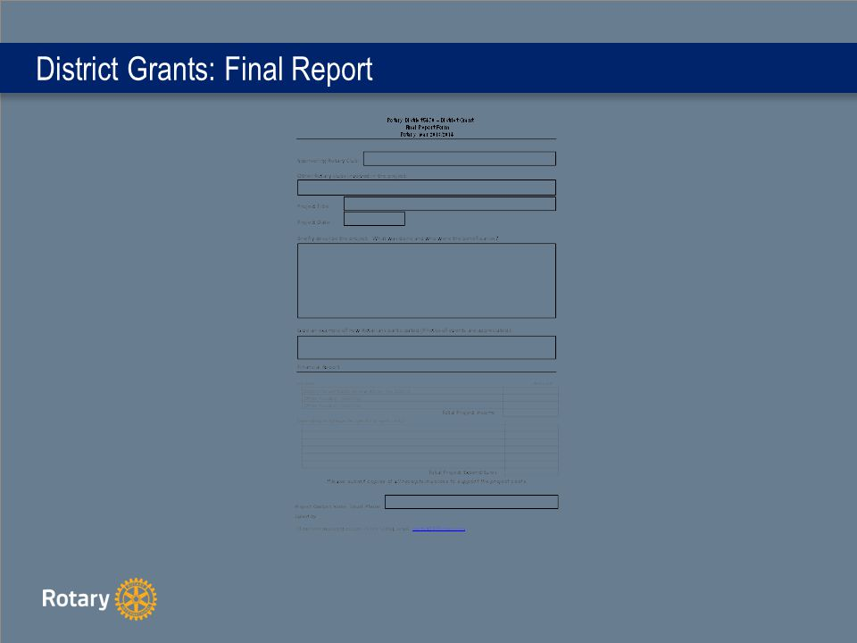 District Grants: Final Report