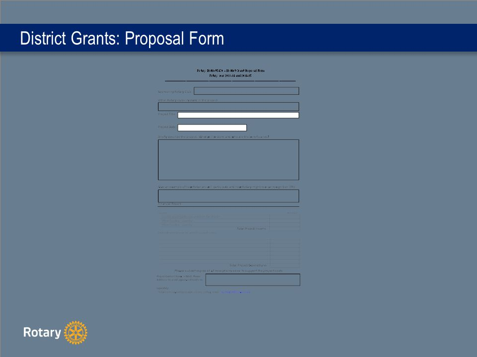 District Grants: Proposal Form
