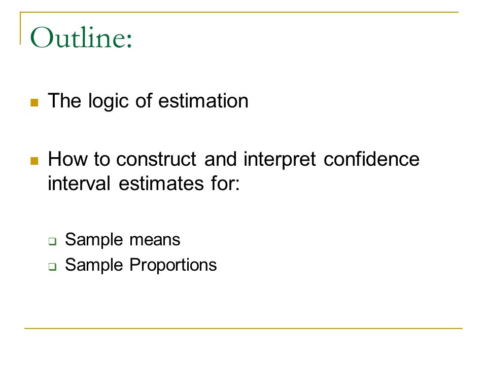 Outline: The logic of estimation How to construct and interpret confidence interval estimates for:  Sample means  Sample Proportions