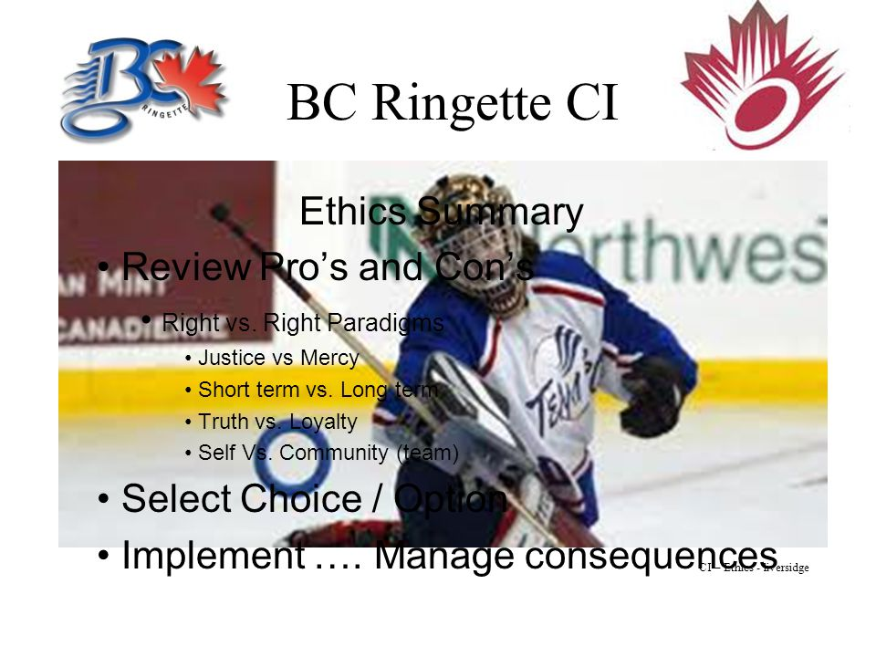 BC Ringette CI Ethics Summary Review Pro's and Con's Right vs.