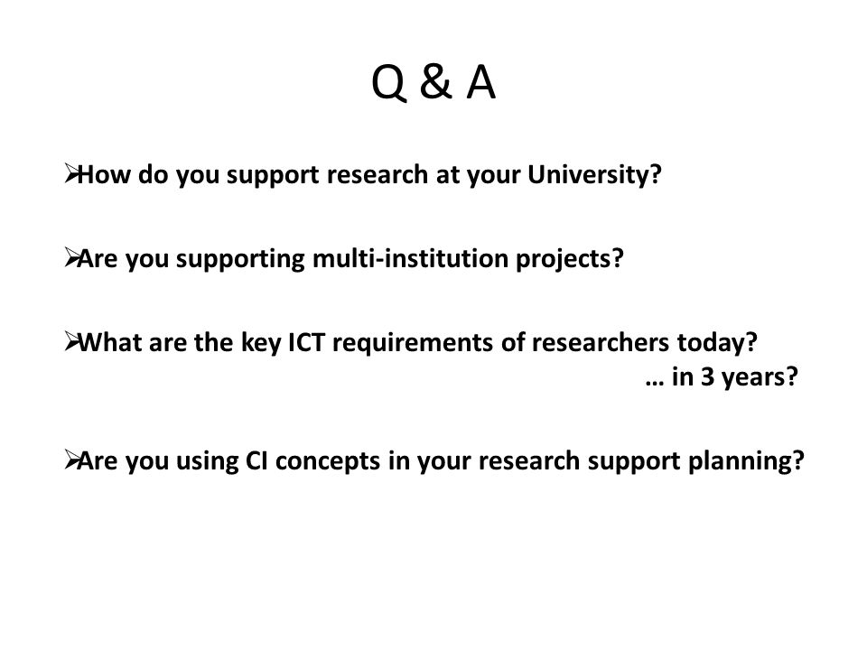 Q & A  How do you support research at your University.
